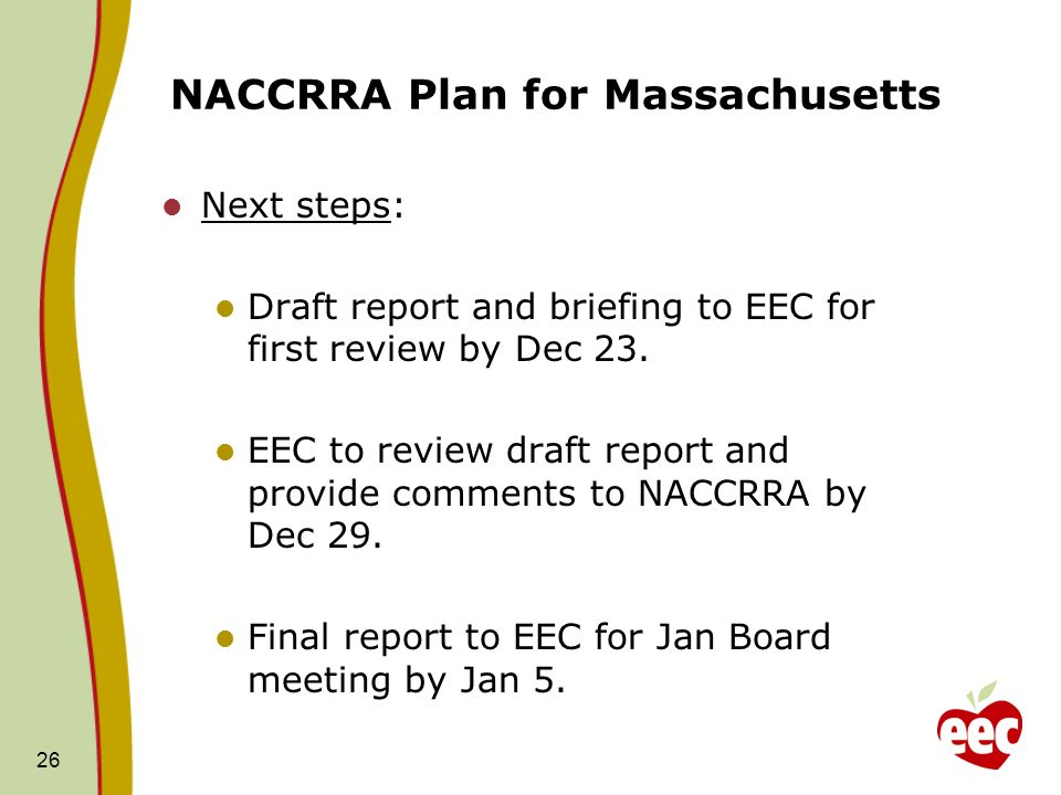 NACCRRA Plan for Massachusetts Next steps: Draft report and briefing to EEC for first review by Dec 23.