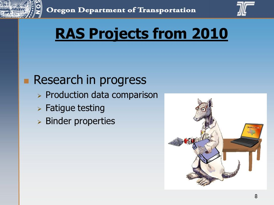 8 RAS Projects from 2010 Research in progress Production data comparison Fatigue testing Binder properties