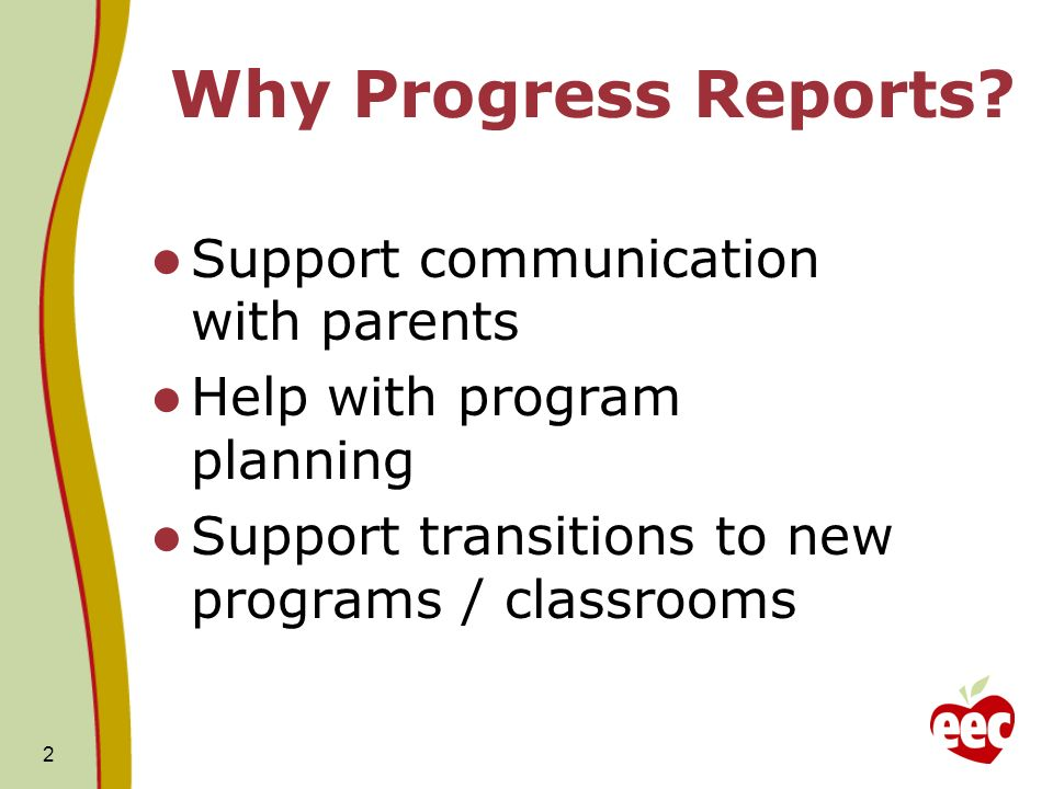 2 Why Progress Reports.