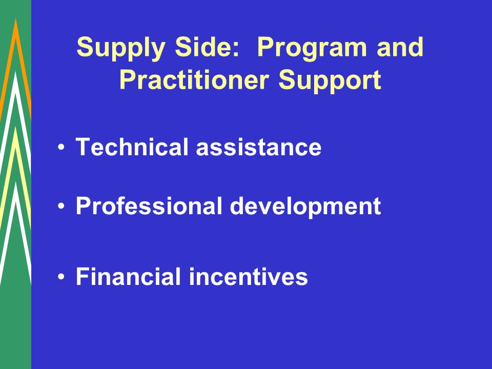 Supply Side: Program and Practitioner Support Technical assistance Professional development Financial incentives