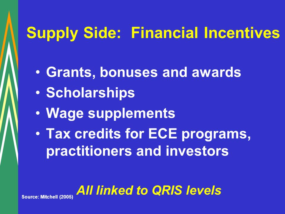 Supply Side: Financial Incentives Grants, bonuses and awards Scholarships Wage supplements Tax credits for ECE programs, practitioners and investors All linked to QRIS levels Source: Mitchell (2005)