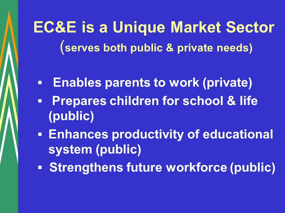EC&E is a Unique Market Sector ( serves both public & private needs) Enables parents to work (private) Prepares children for school & life (public) Enhances productivity of educational system (public) Strengthens future workforce (public)