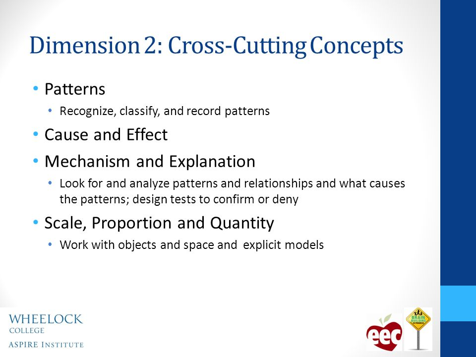 Dimension 2: Cross-Cutting Concepts Patterns Recognize, classify, and record patterns Cause and Effect Mechanism and Explanation Look for and analyze patterns and relationships and what causes the patterns; design tests to confirm or deny Scale, Proportion and Quantity Work with objects and space and explicit models