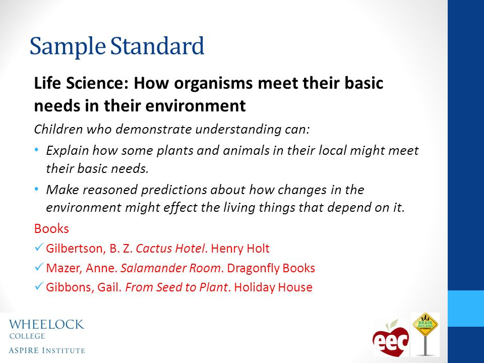 Sample Standard Life Science: How organisms meet their basic needs in their environment Children who demonstrate understanding can: Explain how some plants and animals in their local might meet their basic needs.