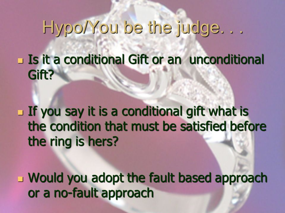 Hypo/You be the judge... Is it a conditional Gift or an unconditional Gift.