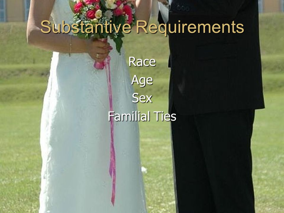 Substantive Requirements RaceAgeSex Familial Ties