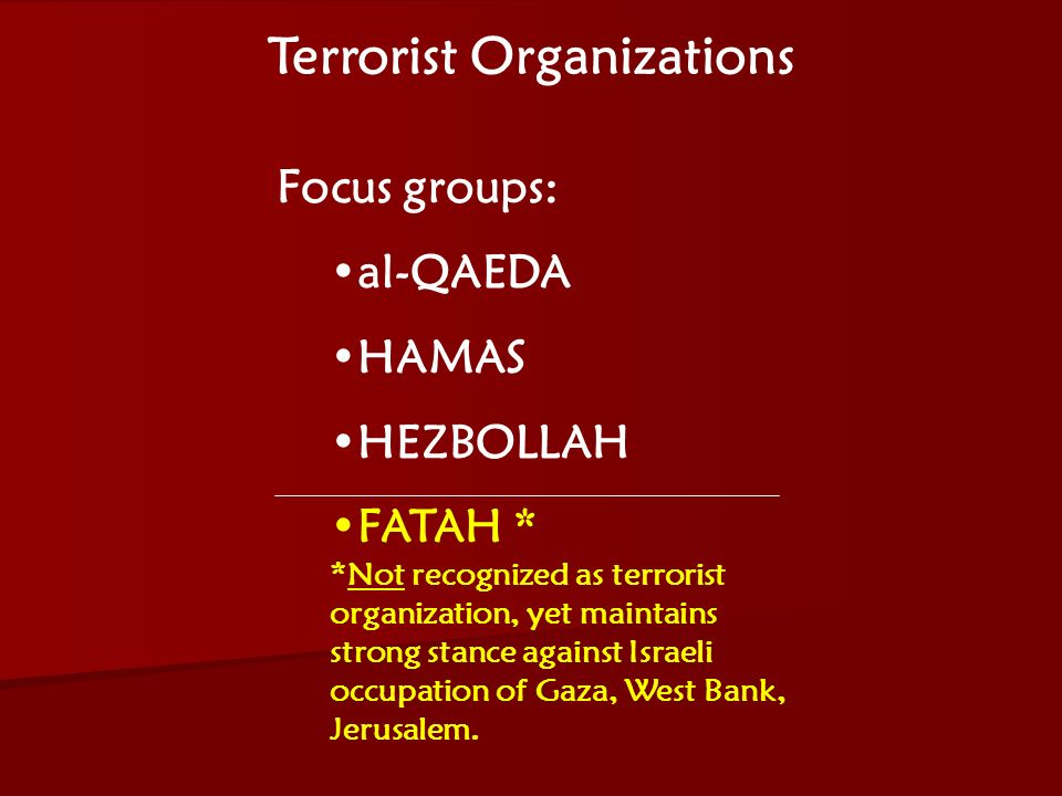 ACW The Middle East: Terrorism 2006-07 Terrorist Organizations Focus groups: al-QAEDA HAMAS HEZBOLLAH FATAH * *Not recognized as terrorist organization, yet maintains strong stance against Israeli occupation of Gaza, West Bank, Jerusalem.