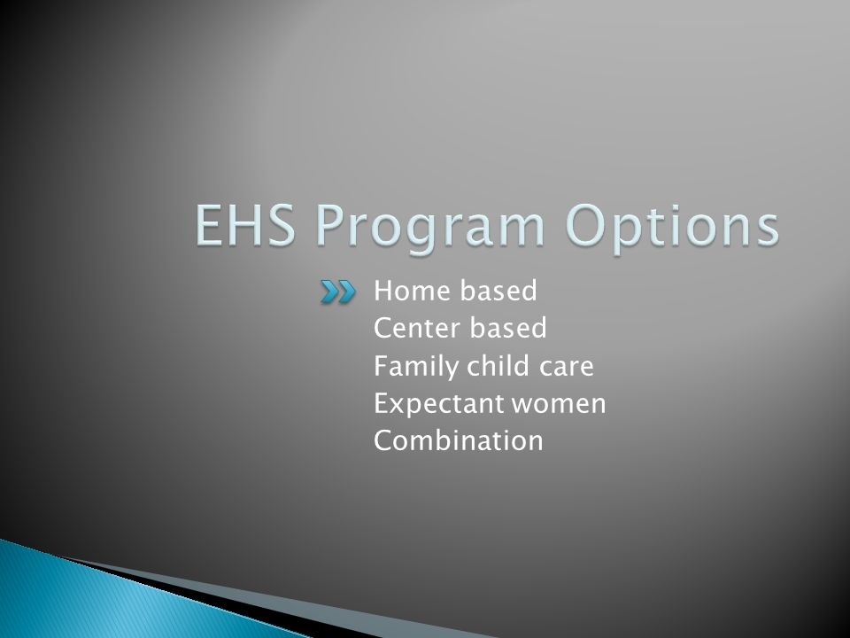Home based Center based Family child care Expectant women Combination