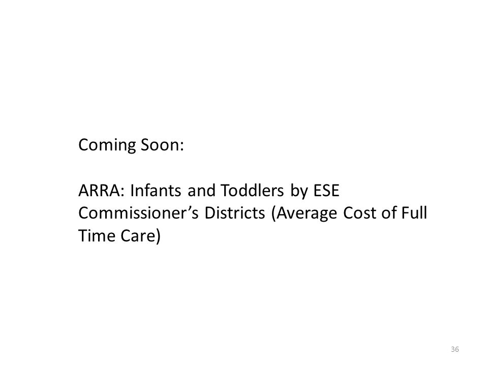 Coming Soon: ARRA: Infants and Toddlers by ESE Commissioners Districts (Average Cost of Full Time Care) 36