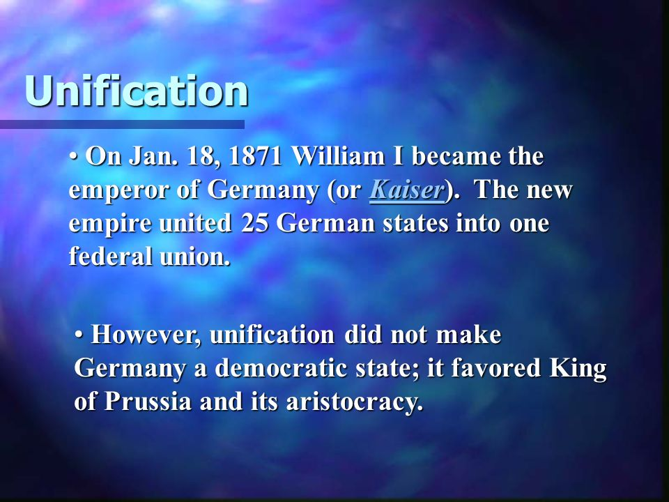 William I (King of Prussia 1861-1888) had grandiose plans of a united Germany, but it was his prime minister, Otto von Bismarck (1815-98), who was really responsible for the expansion of the Kingdom of Prussia into the German Empire.