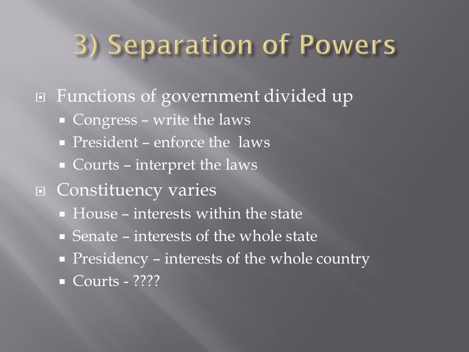 Functions of government divided up Congress – write the laws President – enforce the laws Courts – interpret the laws Constituency varies House – interests within the state Senate – interests of the whole state Presidency – interests of the whole country Courts -