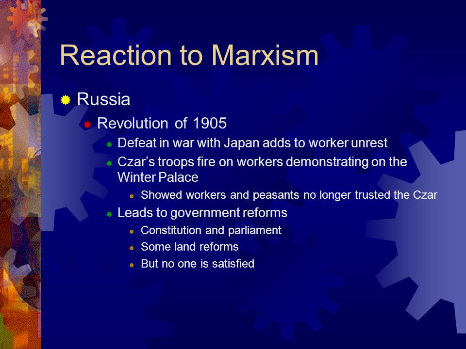 Reaction to Marxism Lenin (1870-1924) Original name Vladimir Ulyanov Brother executed for plot to assassinate Czar Alexander III Joined revolutionary groups Arrested and exiled to Siberia in 1895 Lived in exile in Switzerland in 1900 Became leader of the Bolsheviks, a Marxist revolutionary group