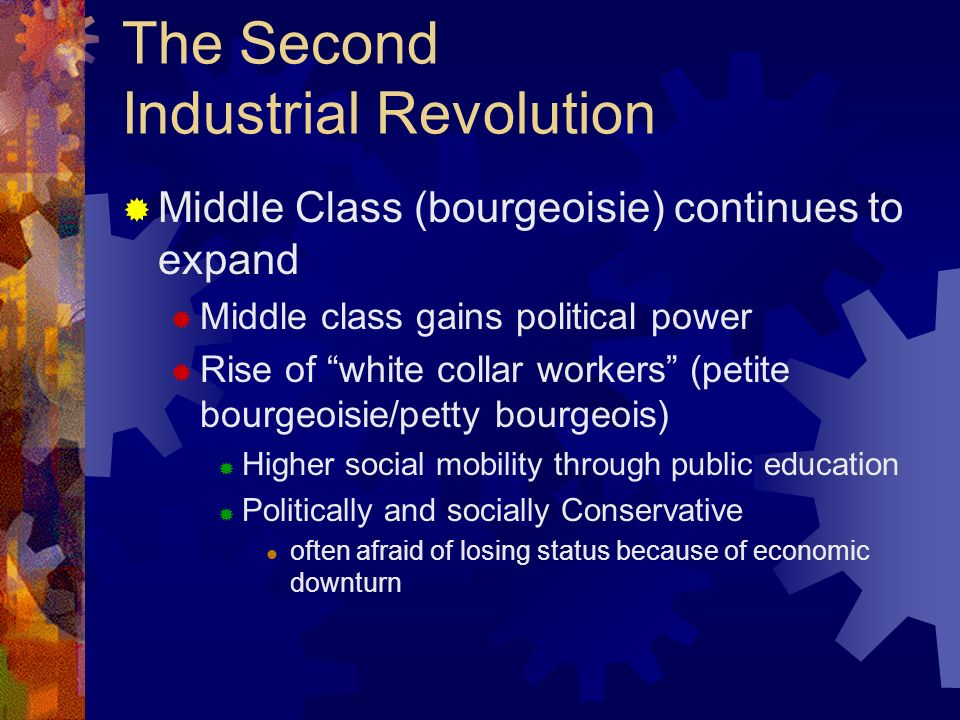 The Second Industrial Revolution Depression of 1873 European economies expanded 1850-73 Technological advances lower food costs But competition slows down economy Bad investments cause banks to fail Causes ripple effect throughout economy Workers unemployed Growth of trade unions and socialist parties New indust consumer goods incr D brings econ out of stagnation