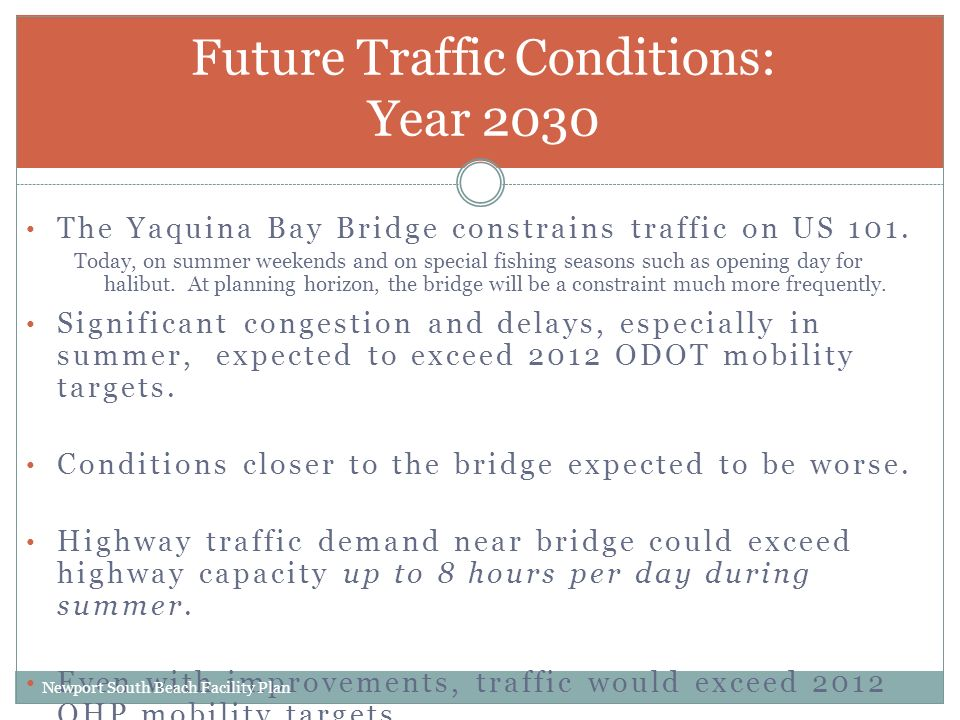 The Yaquina Bay Bridge constrains traffic on US 101.