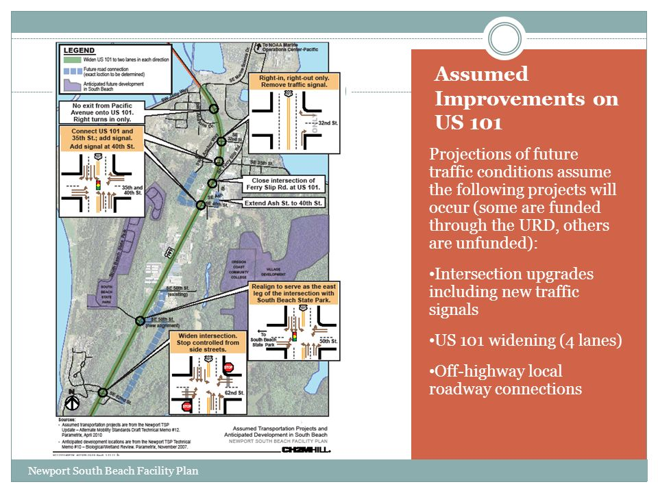 Assumed Improvements on US 101 Projections of future traffic conditions assume the following projects will occur (some are funded through the URD, others are unfunded): Intersection upgrades including new traffic signals US 101 widening (4 lanes) Off-highway local roadway connections Newport South Beach Facility Plan