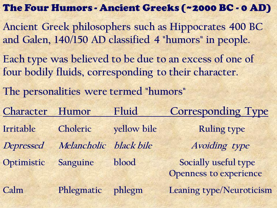 The Four Humors - Ancient Greeks (~2000 BC - 0 AD) Ancient Greek philosophers such as Hippocrates 400 BC and Galen, 140/150 AD classified 4 humors in people.