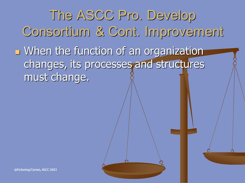 © Pickering/Corson, ASCC 2003 The ASCC Pro. Develop Consortium & Cont.