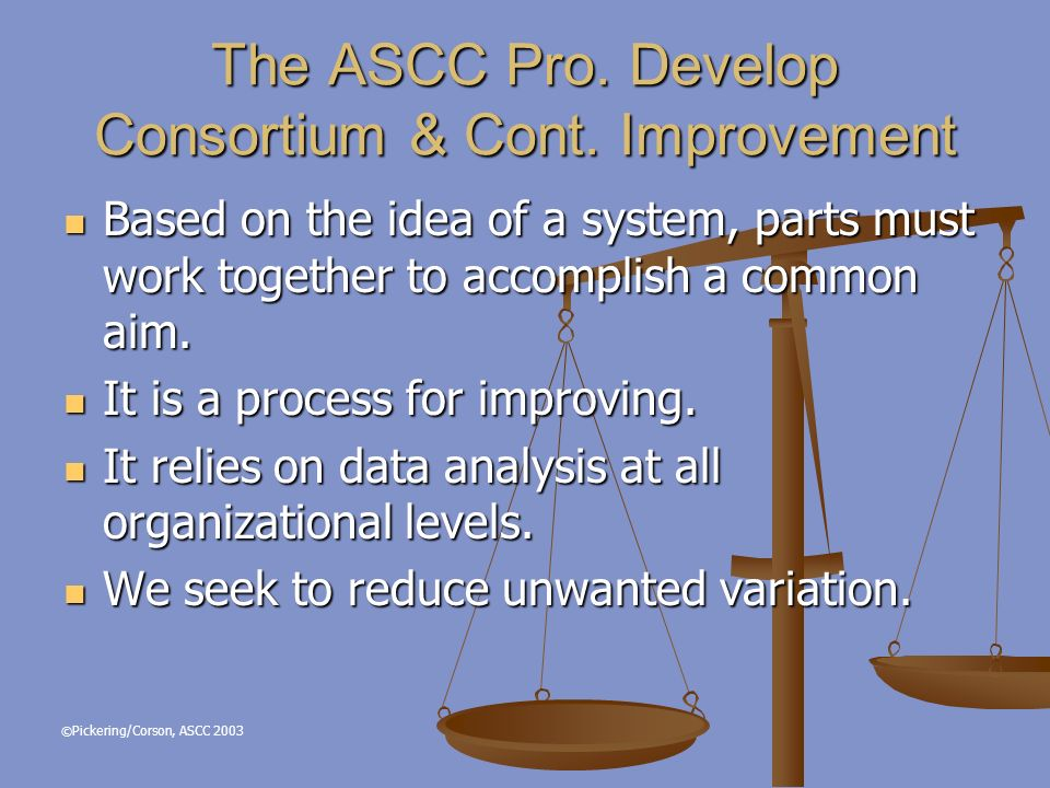 © Pickering/Corson, ASCC 2003 Based on the idea of a system, parts must work together to accomplish a common aim.