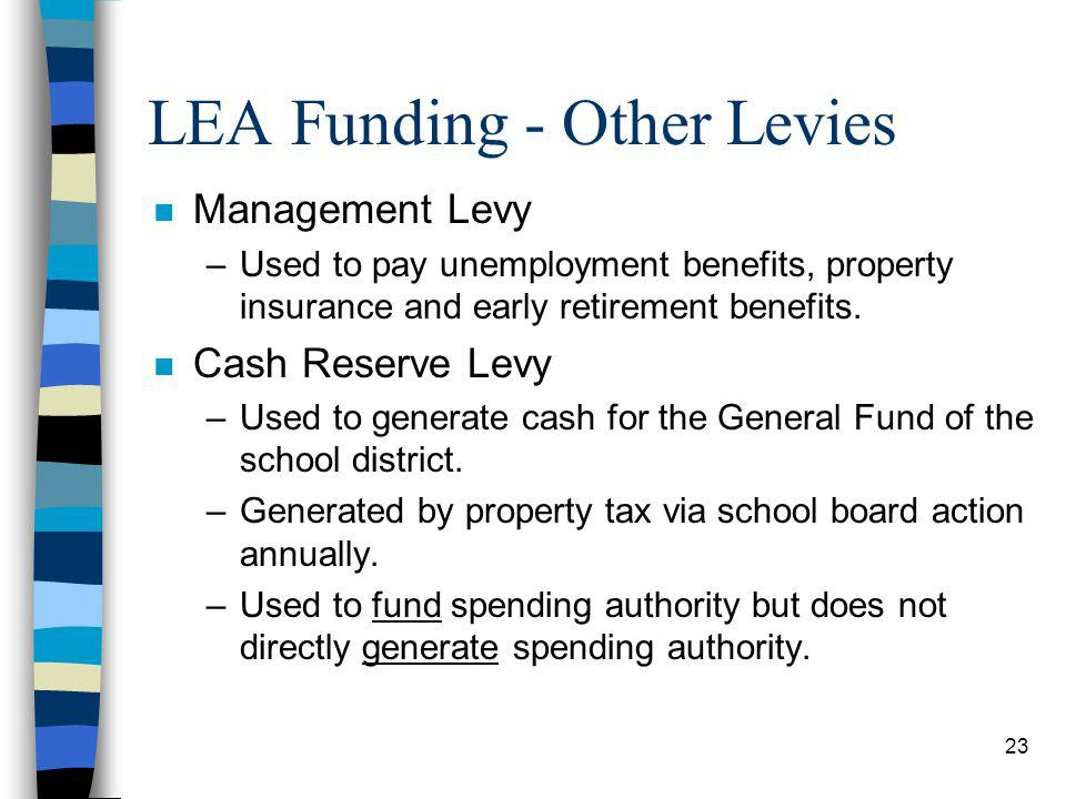 23 LEA Funding - Other Levies n Management Levy –Used to pay unemployment benefits, property insurance and early retirement benefits.