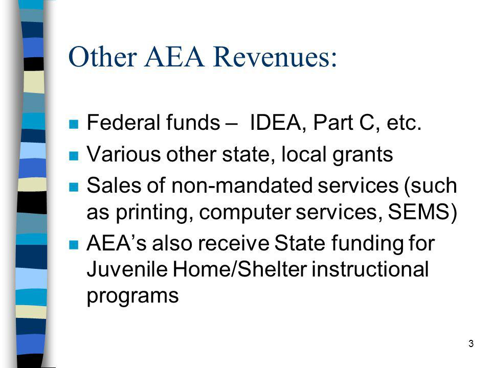 3 Other AEA Revenues: n Federal funds – IDEA, Part C, etc.