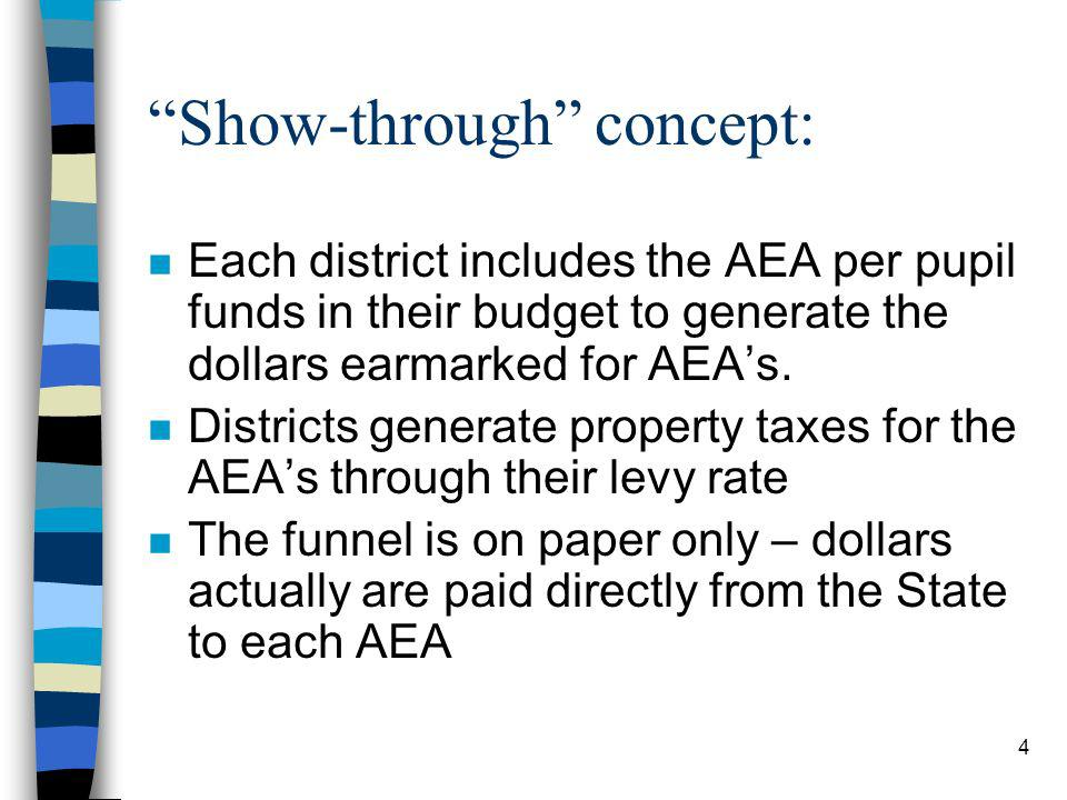 4 Show-through concept: n Each district includes the AEA per pupil funds in their budget to generate the dollars earmarked for AEAs.