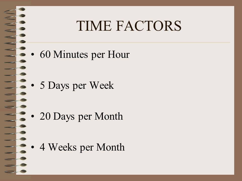TIME FACTORS 60 Minutes per Hour 5 Days per Week 20 Days per Month 4 Weeks per Month