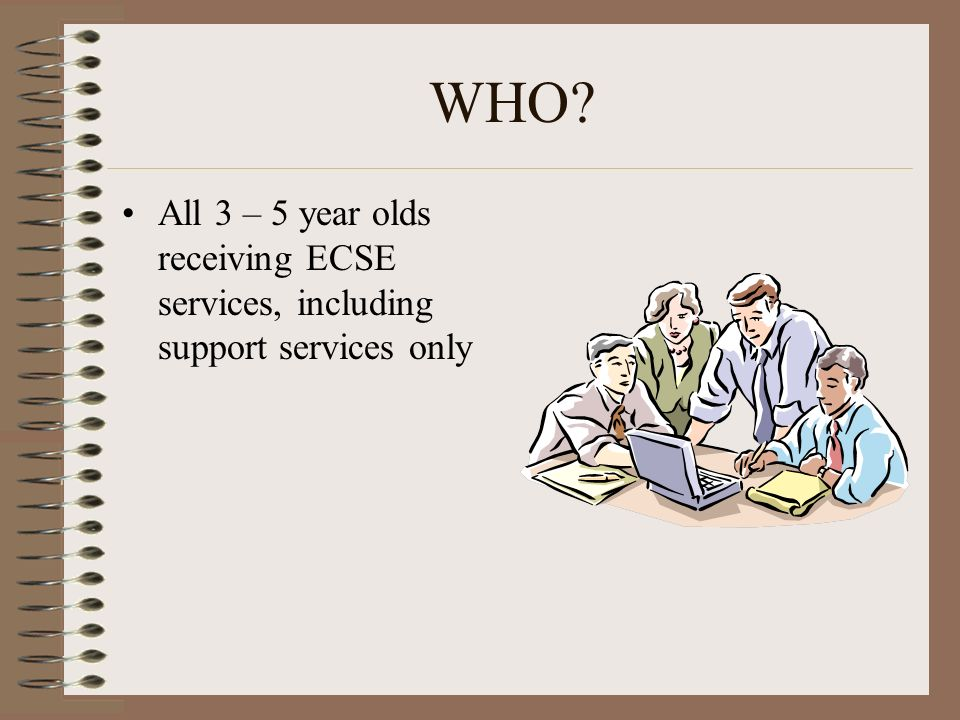WHO All 3 – 5 year olds receiving ECSE services, including support services only