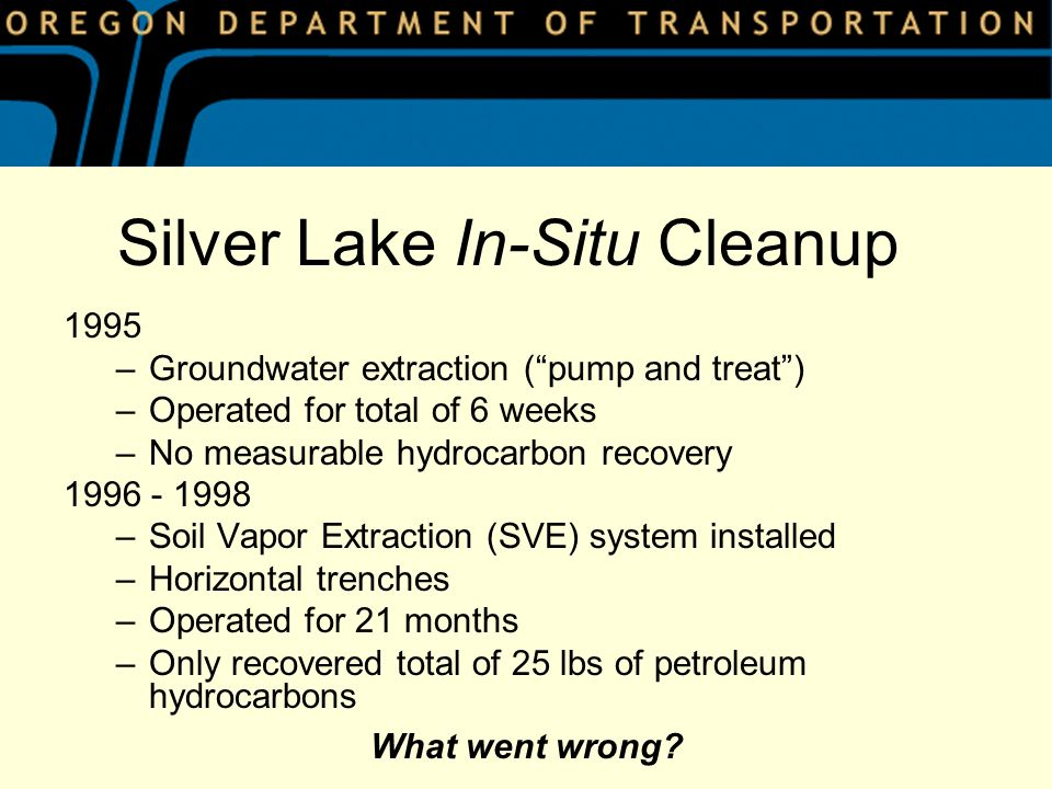 1995 –Groundwater extraction (pump and treat) –Operated for total of 6 weeks –No measurable hydrocarbon recovery 1996 - 1998 –Soil Vapor Extraction (SVE) system installed –Horizontal trenches –Operated for 21 months –Only recovered total of 25 lbs of petroleum hydrocarbons Silver Lake In-Situ Cleanup What went wrong