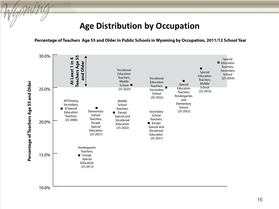 Age Distribution by Occupation 16