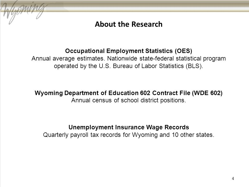 About the Research Occupational Employment Statistics (OES) Annual average estimates.