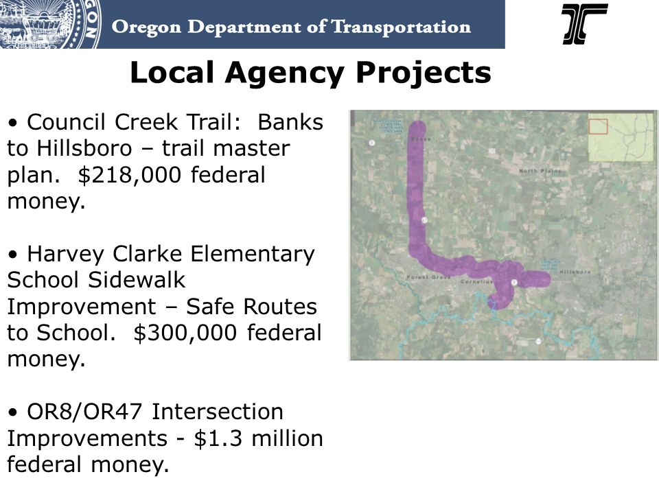 Local Agency Projects Council Creek Trail: Banks to Hillsboro – trail master plan.