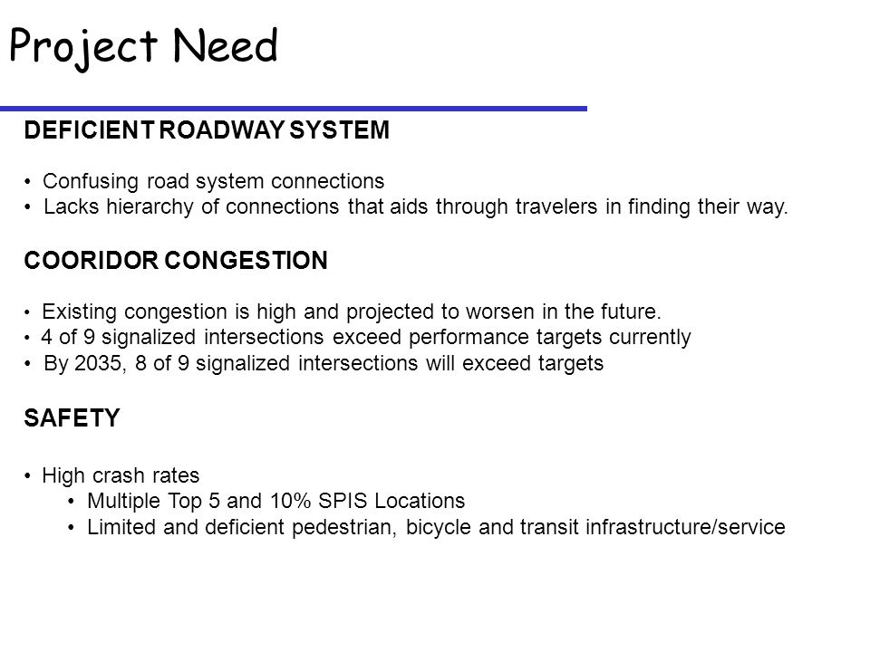 Project Need DEFICIENT ROADWAY SYSTEM Confusing road system connections Lacks hierarchy of connections that aids through travelers in finding their way.