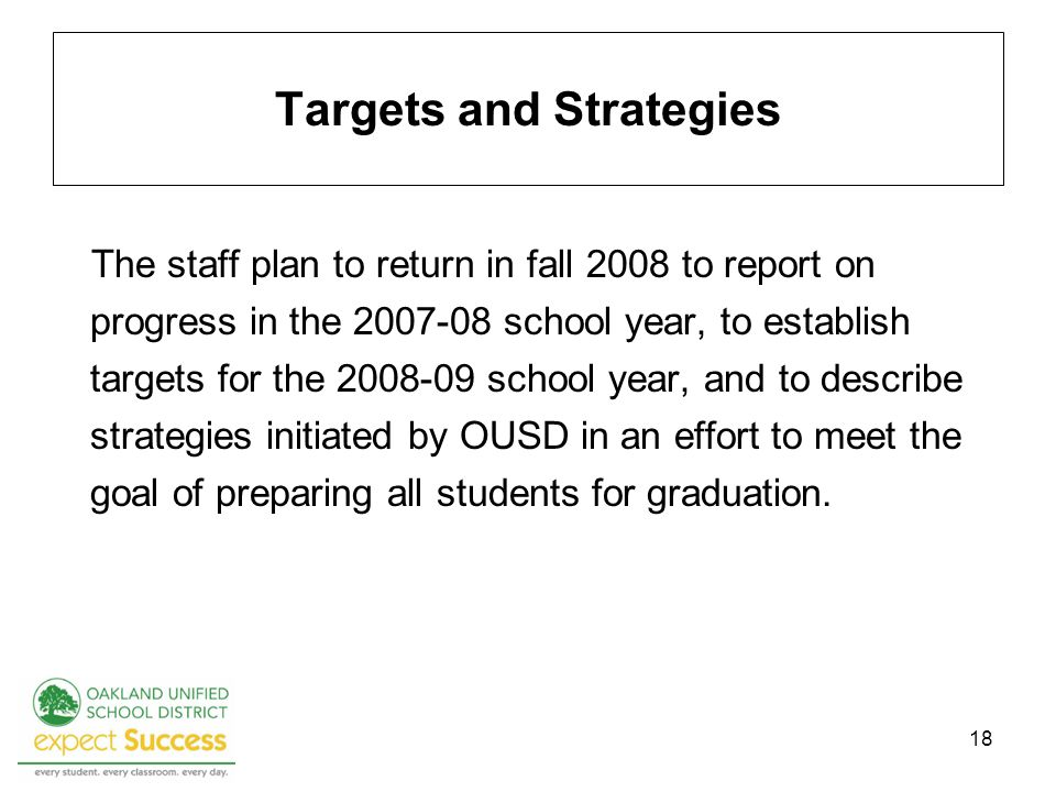 18 Targets and Strategies The staff plan to return in fall 2008 to report on progress in the school year, to establish targets for the school year, and to describe strategies initiated by OUSD in an effort to meet the goal of preparing all students for graduation.