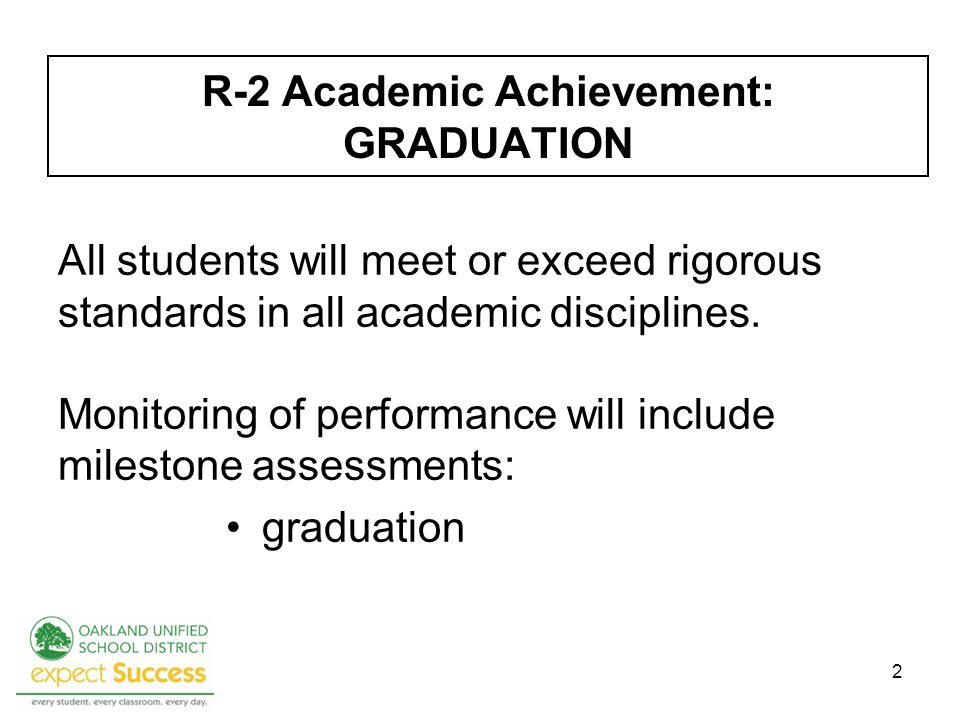 2 R-2 Academic Achievement: GRADUATION All students will meet or exceed rigorous standards in all academic disciplines.