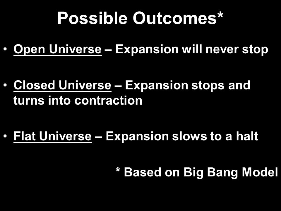 Possible Outcomes* Open Universe – Expansion will never stop Closed Universe – Expansion stops and turns into contraction Flat Universe – Expansion slows to a halt * Based on Big Bang Model