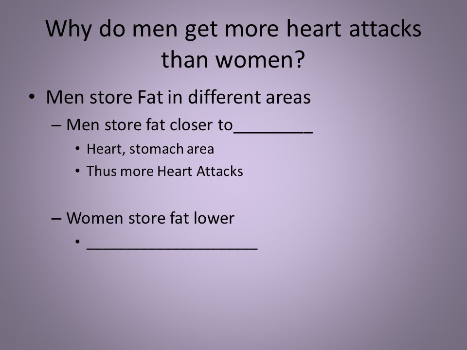 Why do men get more heart attacks than women.