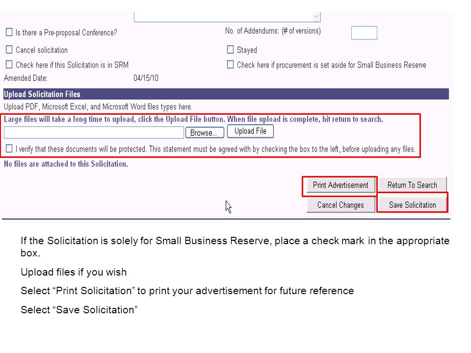 If the Solicitation is solely for Small Business Reserve, place a check mark in the appropriate box.