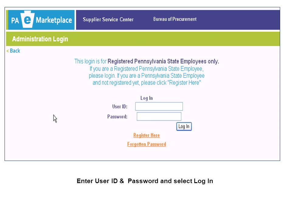 Enter User ID & Password and select Log In