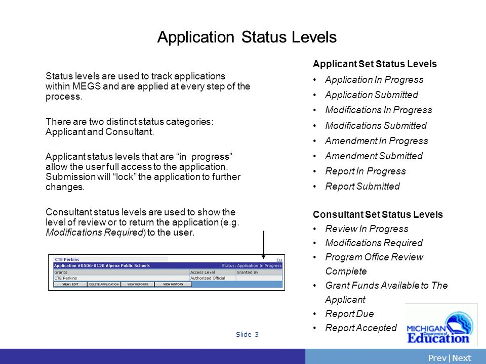 PrevNext | Slide 3 Application Status Levels Status levels are used to track applications within MEGS and are applied at every step of the process.
