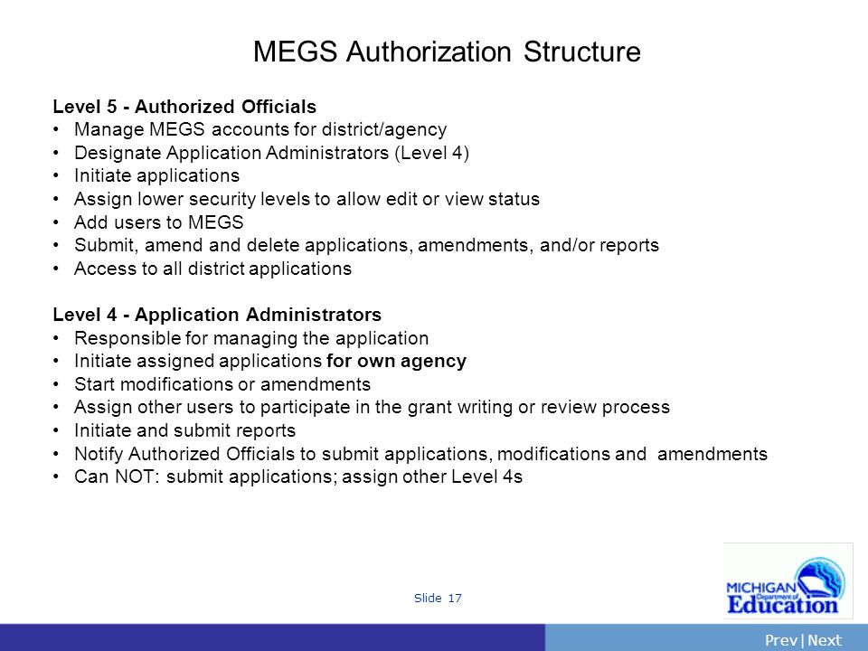 PrevNext | Slide 17 MEGS Authorization Structure Level 5 - Authorized Officials Manage MEGS accounts for district/agency Designate Application Administrators (Level 4) Initiate applications Assign lower security levels to allow edit or view status Add users to MEGS Submit, amend and delete applications, amendments, and/or reports Access to all district applications Level 4 - Application Administrators Responsible for managing the application Initiate assigned applications for own agency Start modifications or amendments Assign other users to participate in the grant writing or review process Initiate and submit reports Notify Authorized Officials to submit applications, modifications and amendments Can NOT: submit applications; assign other Level 4s
