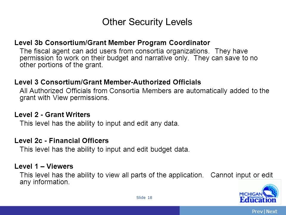 PrevNext | Slide 18 Other Security Levels Level 3b Consortium/Grant Member Program Coordinator The fiscal agent can add users from consortia organizations.