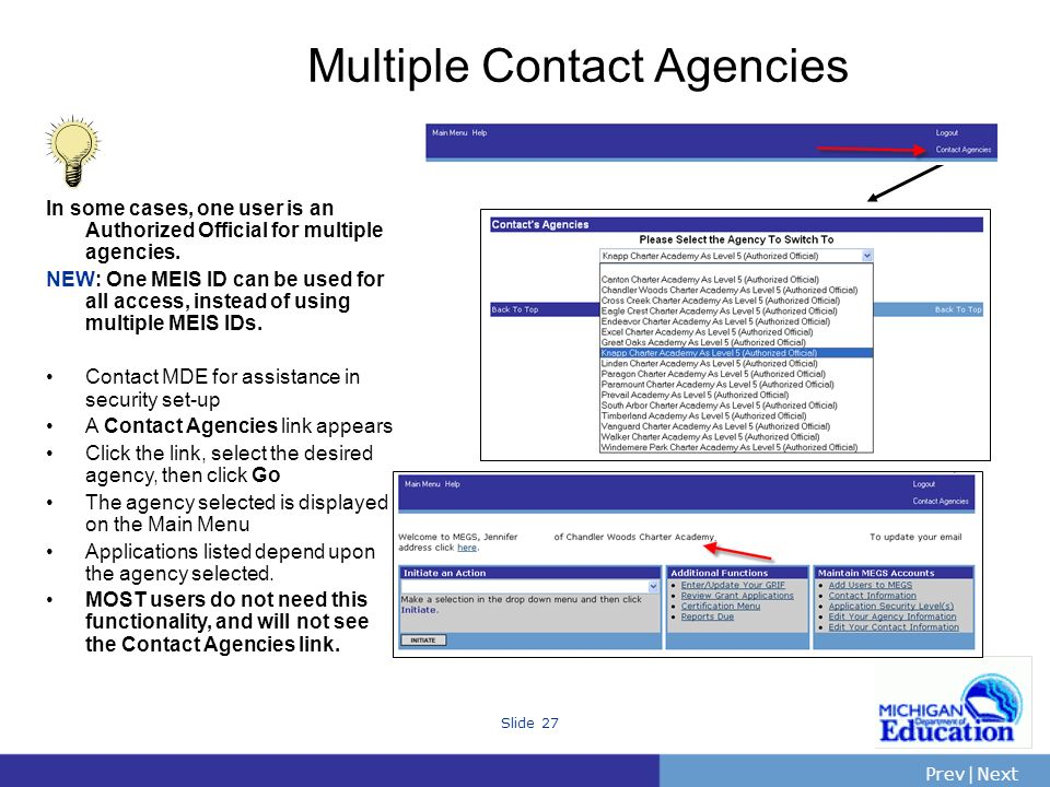 PrevNext | Slide 27 Multiple Contact Agencies In some cases, one user is an Authorized Official for multiple agencies.
