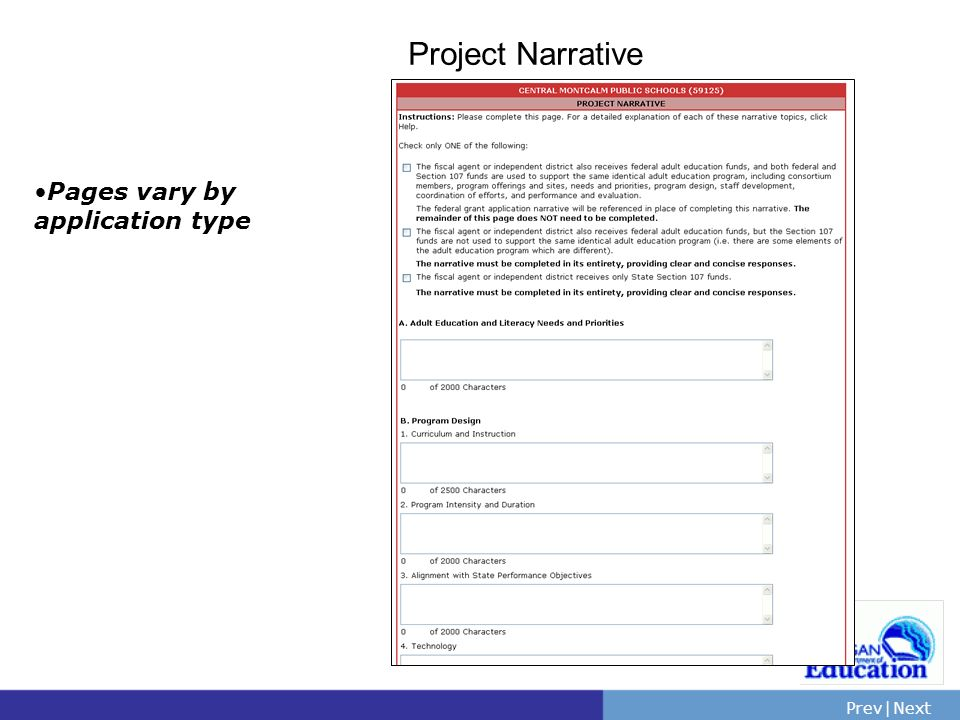PrevNext | Slide 52 Project Narrative Pages vary by application type