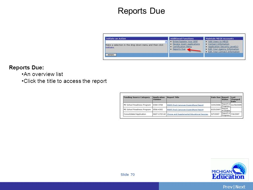 PrevNext | Slide 70 Reports Due Reports Due: An overview list Click the title to access the report