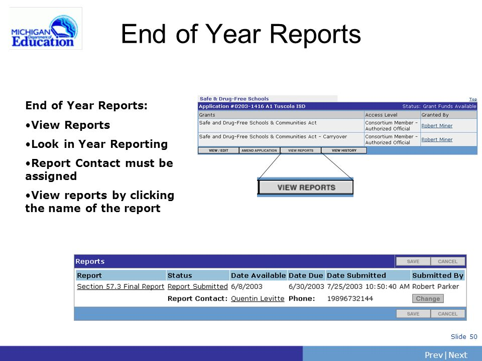 PrevNext | Slide 50 End of Year Reports End of Year Reports: View Reports Look in Year Reporting Report Contact must be assigned View reports by clicking the name of the report