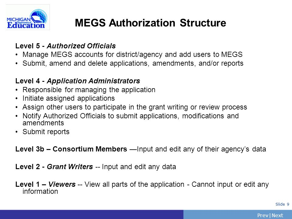 PrevNext | Slide 9 MEGS Authorization Structure Level 5 - Authorized Officials Manage MEGS accounts for district/agency and add users to MEGS Submit, amend and delete applications, amendments, and/or reports Level 4 - Application Administrators Responsible for managing the application Initiate assigned applications Assign other users to participate in the grant writing or review process Notify Authorized Officials to submit applications, modifications and amendments Submit reports Level 3b – Consortium Members Input and edit any of their agencys data Level 2 - Grant Writers -- Input and edit any data Level 1 – Viewers -- View all parts of the application - Cannot input or edit any information