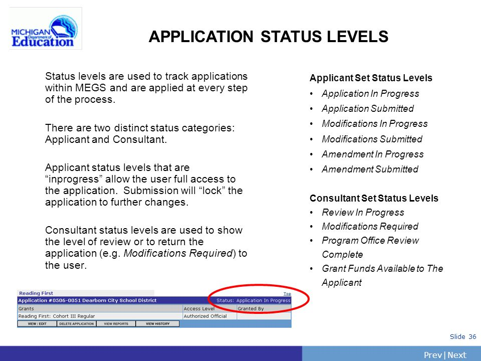 PrevNext | Slide 36 APPLICATION STATUS LEVELS Status levels are used to track applications within MEGS and are applied at every step of the process.