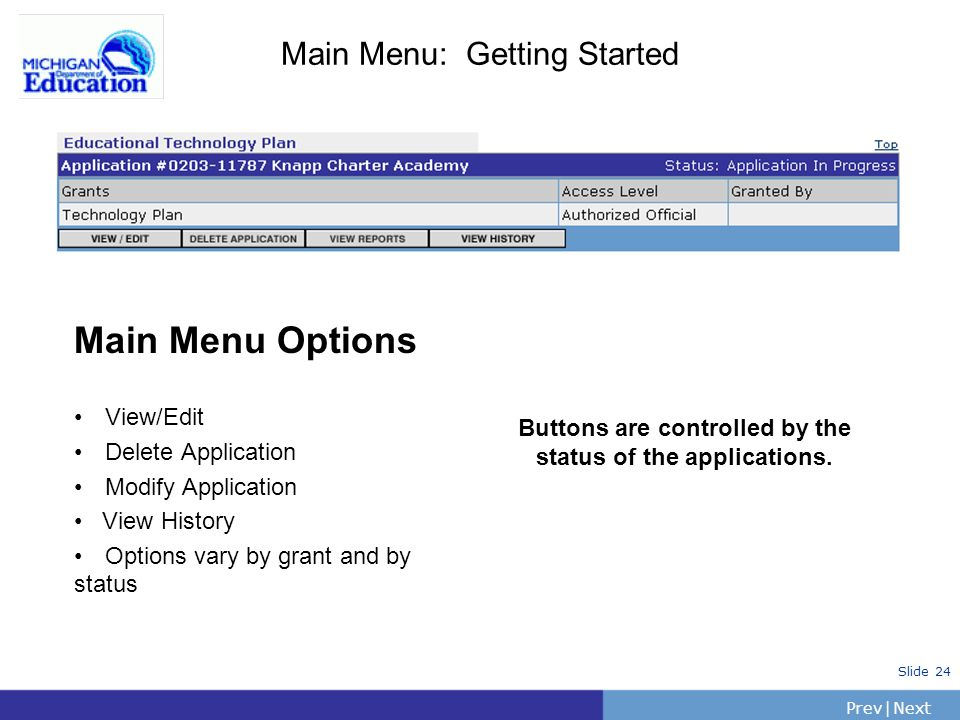 PrevNext | Slide 24 Main Menu: Getting Started Main Menu Options View/Edit Delete Application Modify Application View History Options vary by grant and by status Buttons are controlled by the status of the applications.