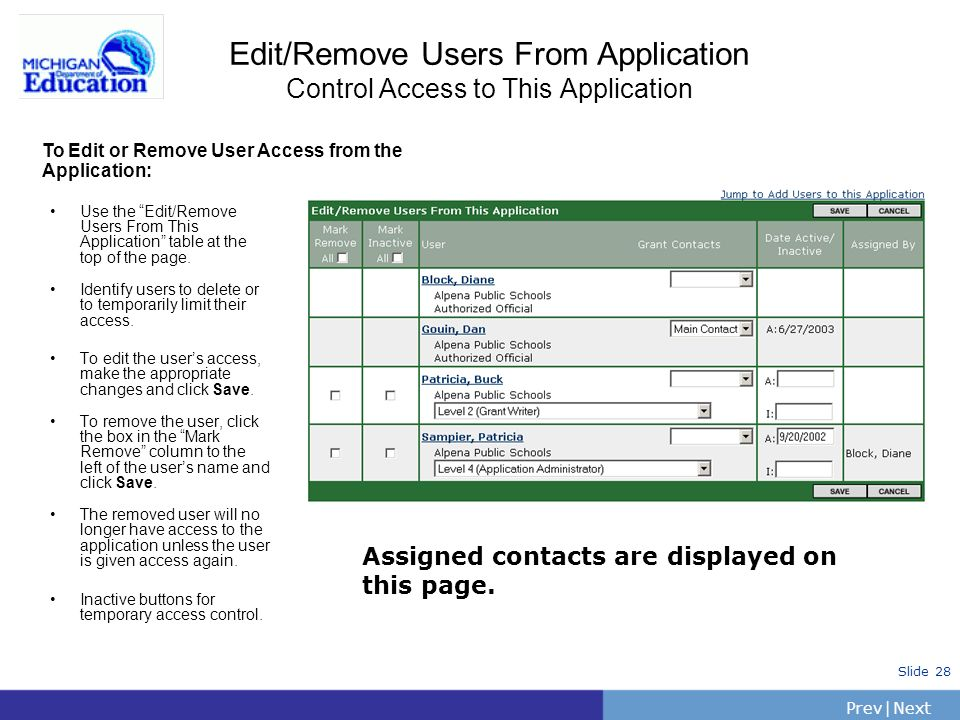 PrevNext | Slide 28 Edit/Remove Users From Application Control Access to This Application Use the Edit/Remove Users From This Application table at the top of the page.