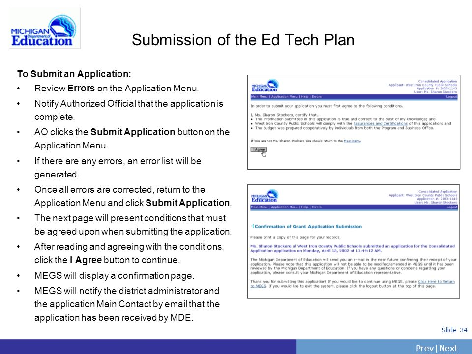 PrevNext | Slide 34 Submission of the Ed Tech Plan To Submit an Application: Review Errors on the Application Menu.